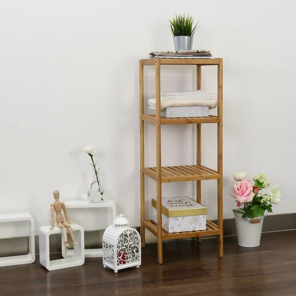 Leonaldo 13 W x 38 H x 13 D Solid Wood Free-Standing Bathroom Shelves