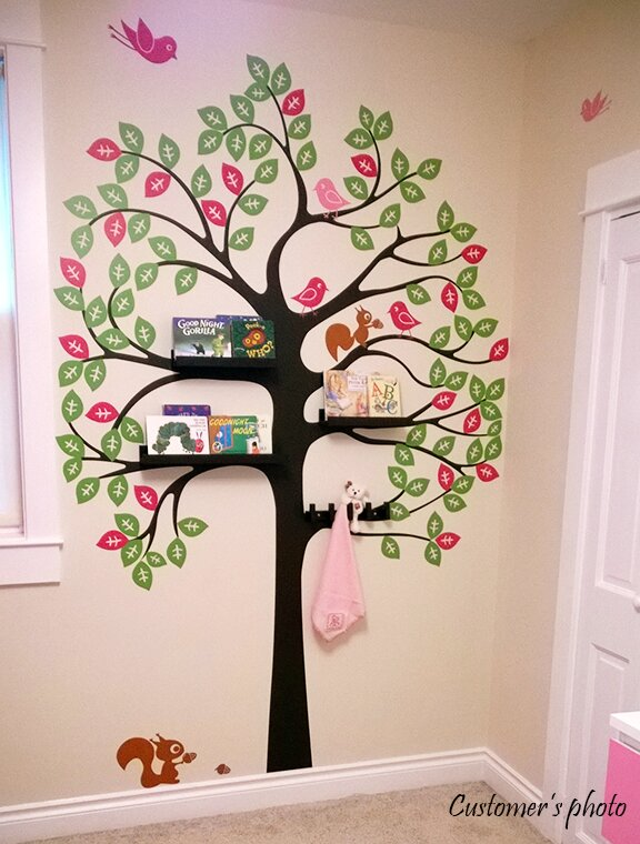 Shelving Tree With Birds And Squirrels Wall Decal Part 36