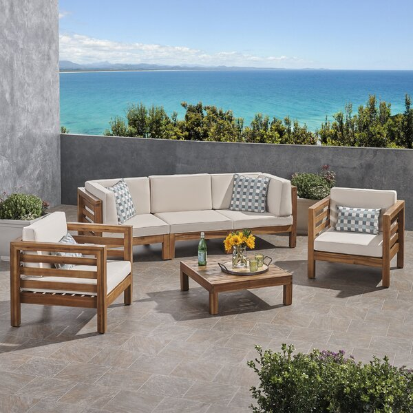 Zaina Outdoor 4 Piece Deep Seating Group with Cushions by Longshore Tides Longshore Tides