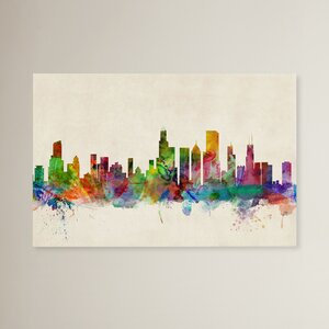 Chicago, Illinois Painting Print on Wrapped Canvas by Trademark Global