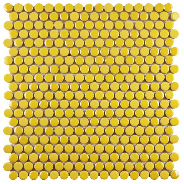 Tucana 0.59 x 0.59 Porcelain Mosaic Tile in Yellow by EliteTile