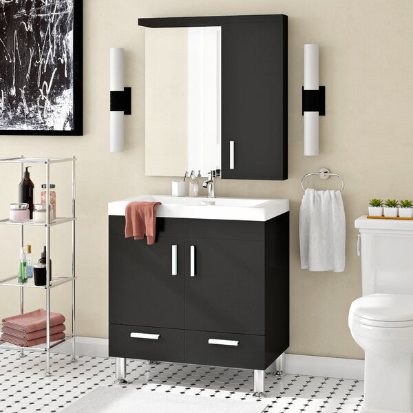 Waldwick 30 Single Modern Bathroom Vanity Set with Mirror by Wade Logan