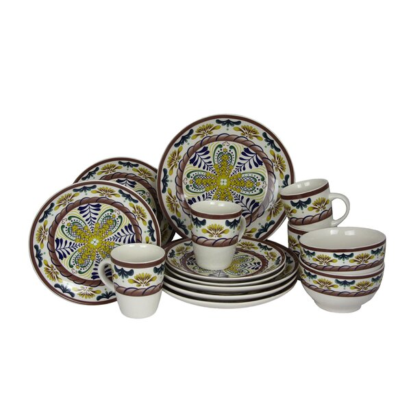 Sunrise Stoneware 16 Piece Dinnerware Set, Service for 4 by Elama