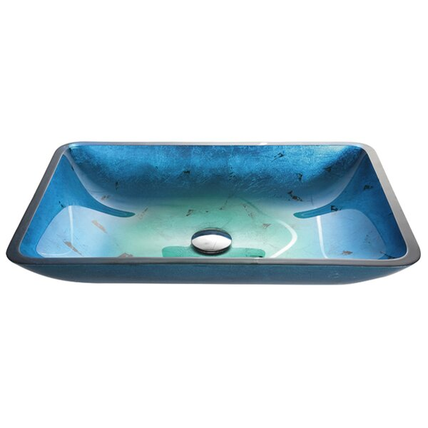 Galaxy Glass Rectangular Vessel Bathroom Sink by Kraus