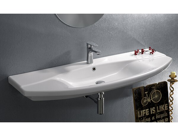 Focus Ceramic Rectangular Wall-Mount Bathroom Sink with Overflow by CeraStyle by Nameeks