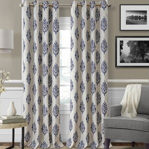 Navara Ikat Max Blackout Thermal Grommet Single Curtain Panel