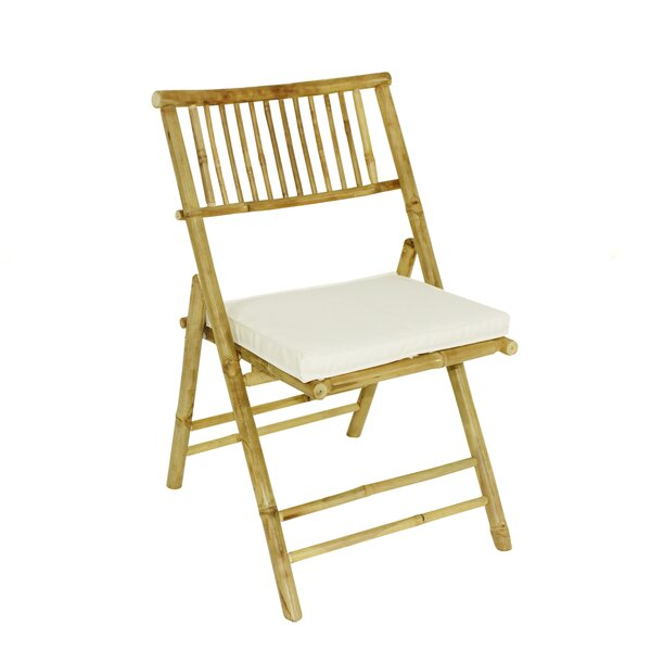Derbyshire Folding Patio Dining Chair with Cushion (Set of 2) by Highland Dunes