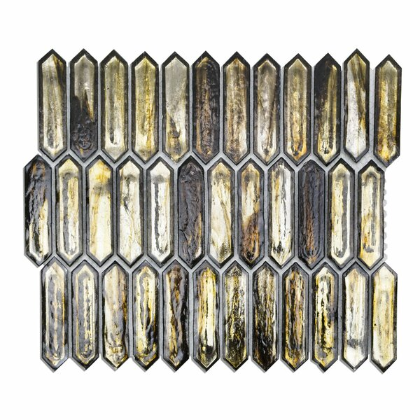 Fargin 0.9 x 3.1 Glass Mosaic Tile in Golden Crust by Splashback Tile