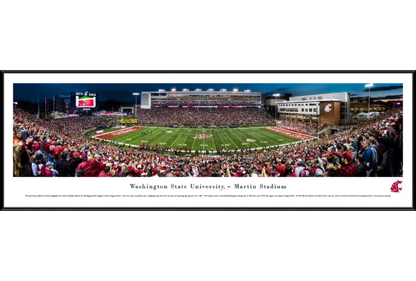 NCAA Washington State Football 50 Yard Line Framed Photographic Print by Blakeway Worldwide Panoramas, Inc