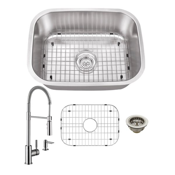 24 L x 18 W Undermount Bar Sink with Faucet and Soap Dispenser by Cahaba