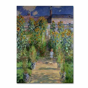 The Artist's Garden at Vetheuil by Claude Monet Painting Print on Canvas by Trademark Fine Art