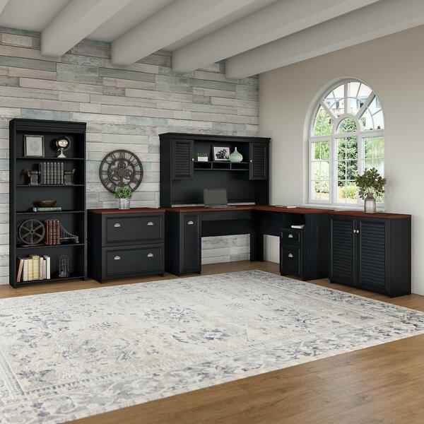Oakridge 5 Piece L-shaped Desk Office Suite by Beachcrest Home