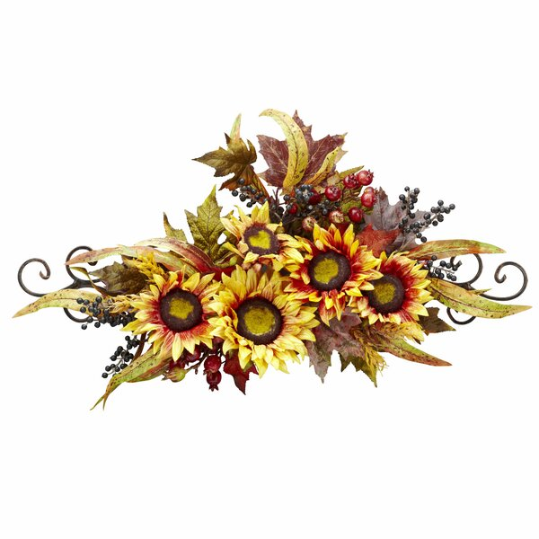 Sunflower Swag With Metal Frame by Nearly Natural