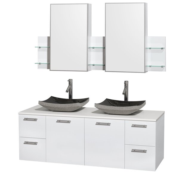 Amare 60 Double White Bathroom Vanity Set with Medicine Cabinet by Wyndham Collection