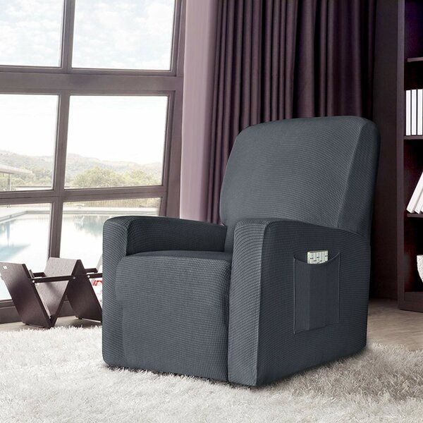 Stretch Spandex Jacquard Box Cushion Recliner Slipcover by Latitude Run