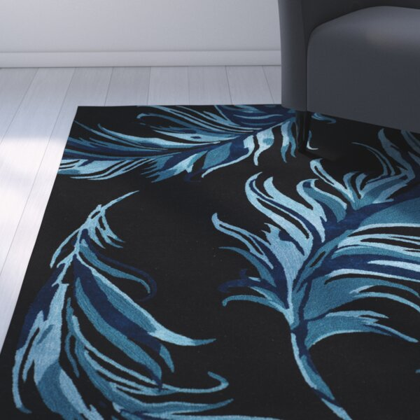 Leeds Black/Blue Area Rug by Latitude Run