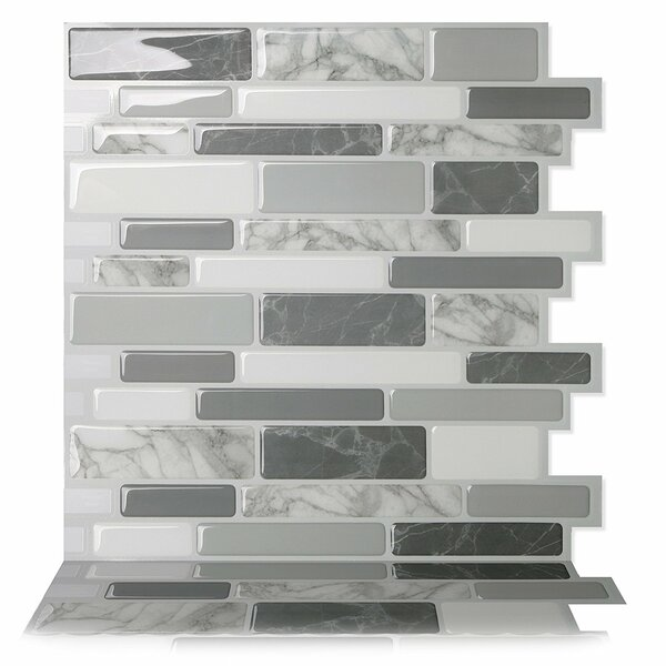 Polito 9.5 x 10 Peel & Stick Mosaic Tile in Gray b