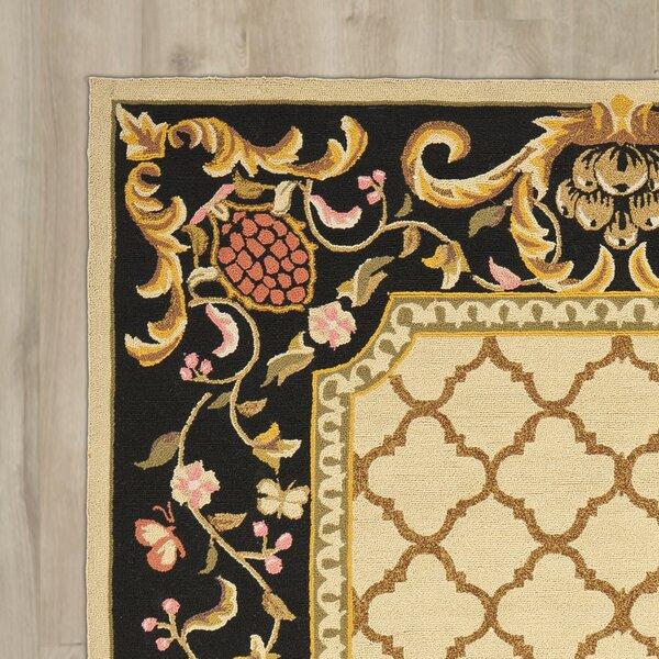 Eddings Anarina Hand-Hooked Ivory/Black Area Rug by Fleur De Lis Living