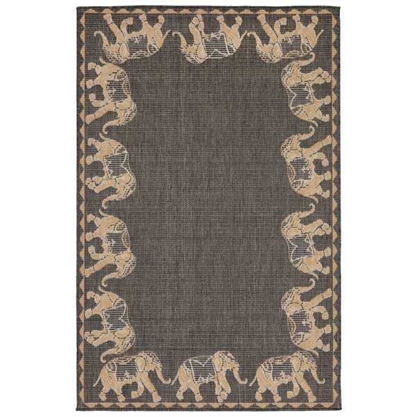 Rosalynn Marching Elephants Power Loom Gray Indoor/Outdoor Area Rug by Bloomsbury Market
