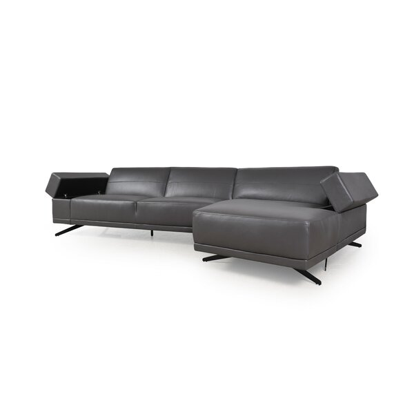 Stone Leather Sectional by Orren Ellis