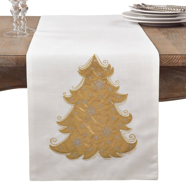 Metallic Christmas Tree Holiday Cotton Table Runner by The Holiday Aisle