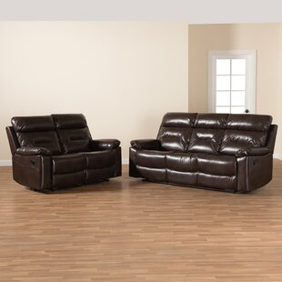 Latitude Run® Studio Byron Modern And Contemporary Dark Brown Faux Leather Upholstered 2-Piece Reclining Living Room Set (Set of 2) by Latitude Run®