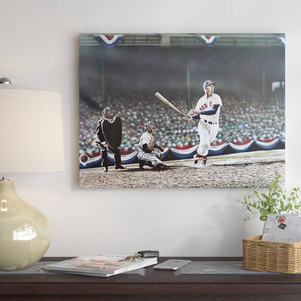 East Urban Home Ted Williams Swing Oil Painting Print On