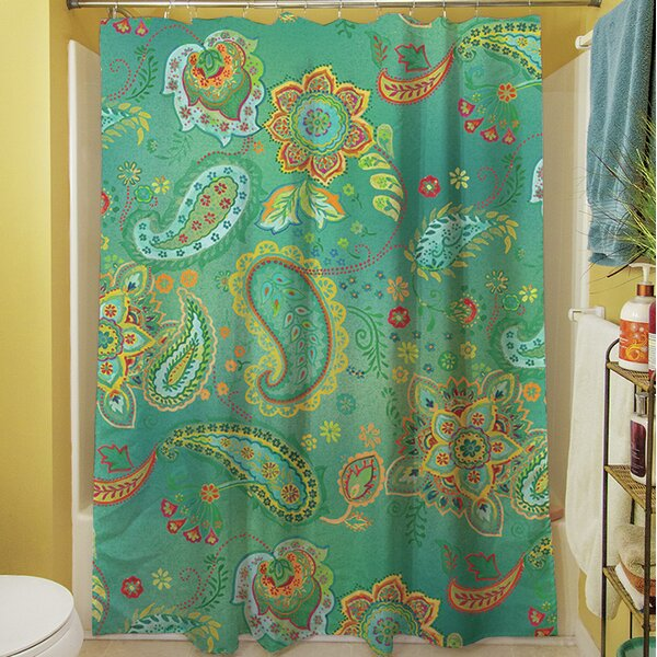 Aqua Bloom Paisley Shower Curtain by Manual Woodworkers & Weavers
