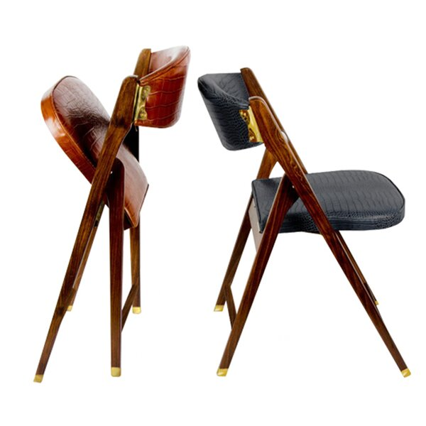 Leather Padded Folding Chair by Serge De Troyer Collection