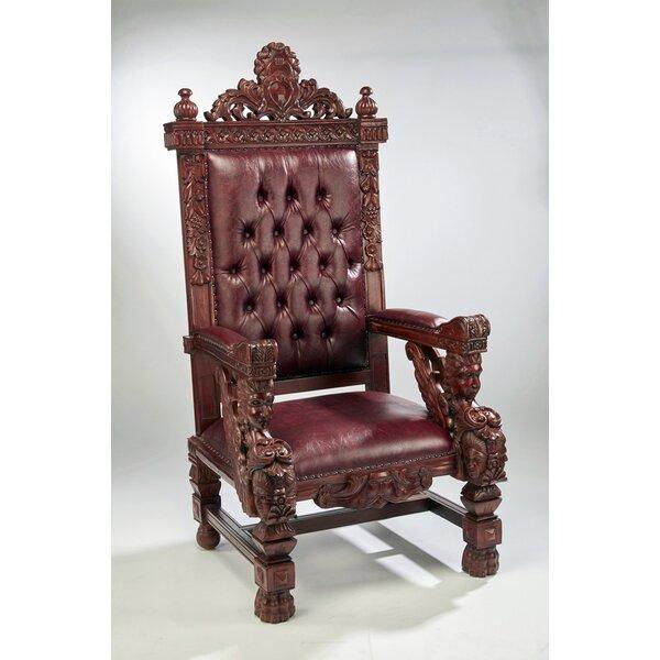 Lorri Mahogany Throne Armchair by Astoria Grand