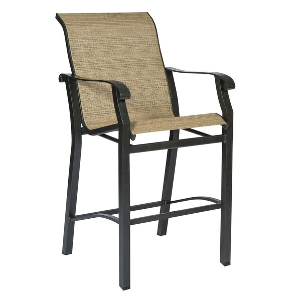 Cortland Sling Stationary 29 Patio Bar Stool by Woodard