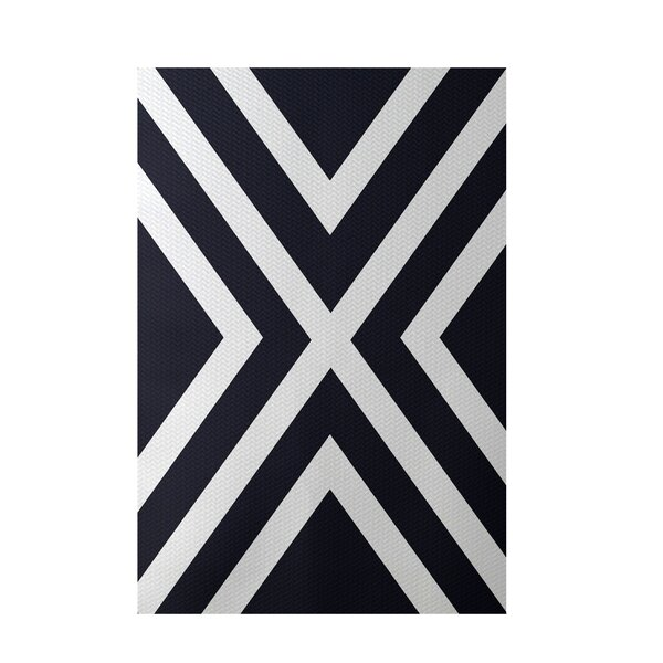 Stripe Navy Blue Indoor/Outdoor Area Rug by e by design
