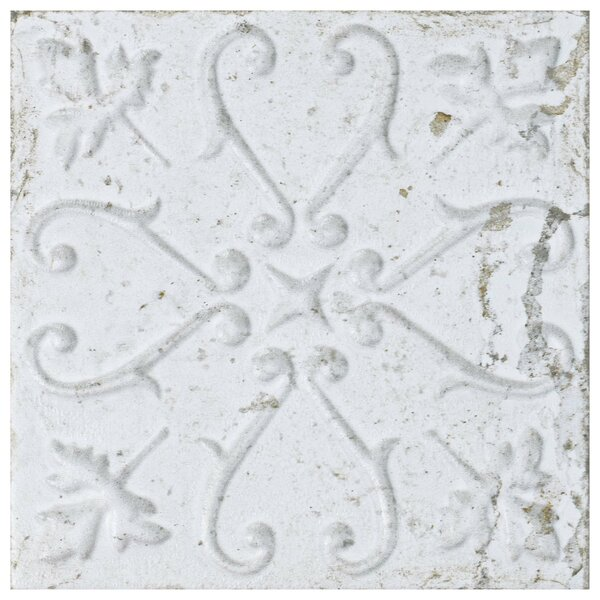 Aevit 7.88 x 7.88 Ceramic Field Tile in White Ornato by EliteTile