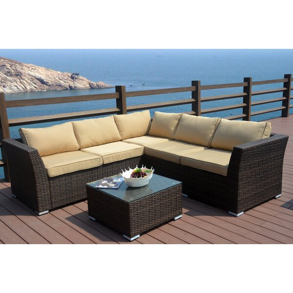 Messick 4 Piece Rattan Sectional Seating Group with Cushions by Latitude Run