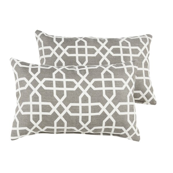 Malcom Geometric Indoor/Outdoor Sunbrella Lumbar Pillow (Set of 2) by Darby Home Co