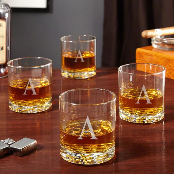 Yogyakarta Personalized 10.25 oz. Whiskey Glass (Set of 4) by Alcott Hill