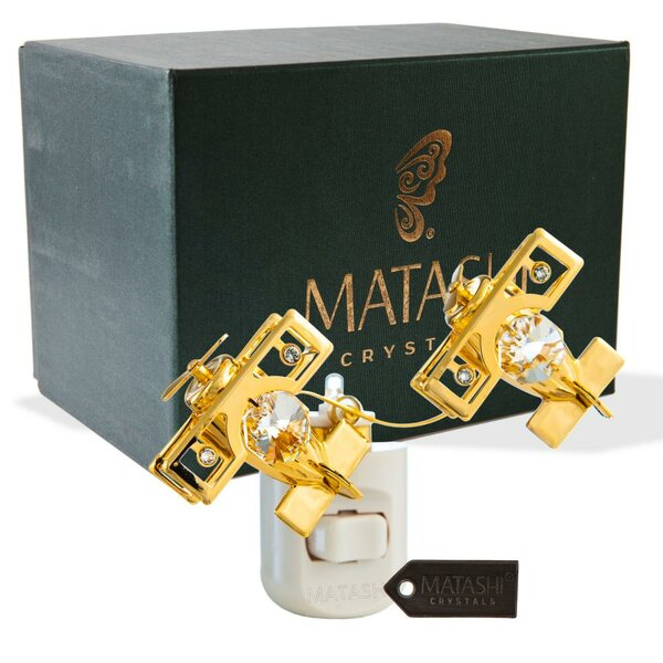 24K Gold Plated Crystal Studded Bi Planes Multi-Colored LED Night Light by Matashi Crystal