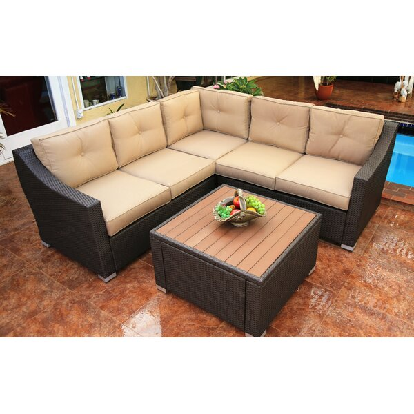 Hasan 6 Piece Sunbrella Sectional Seating Group with Cushions by Brayden Studio