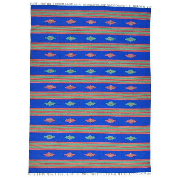 One-of-a-Kind Tovar Flat Weave Killim Hand-Knotted Cotton Blue Area Rug by Millwood Pines