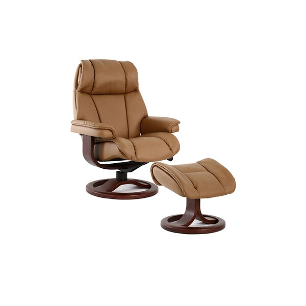 Opie Genuine Leather Manual Swivel Recliner with Ottoman W001273824