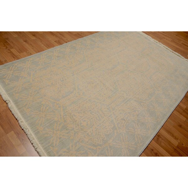 One-of-a-Kind Pullins Hand-Knotted Wool Beige/Blue Area Rug by Bloomsbury Market