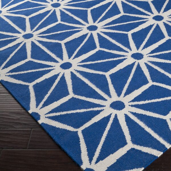 Oma Hand-Woven Ultramarine Blue Area Rug by Everly Quinn