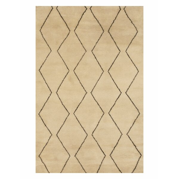 Willmon Transitional Trellis Hand-Knotted Wool Ivory Area Rug by Brayden Studio
