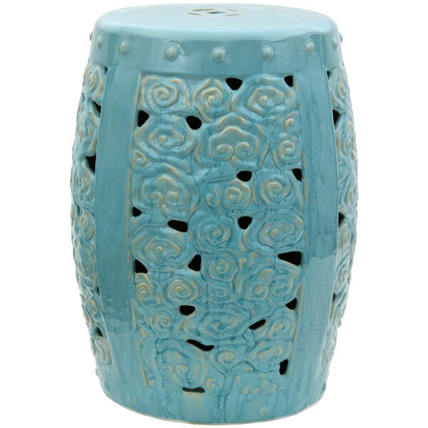 Carved Clouds Porcelain Garden Stool by Oriental Furniture