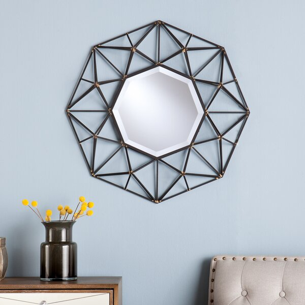 Coll Round Metal Wall Mirror by Mercury Row