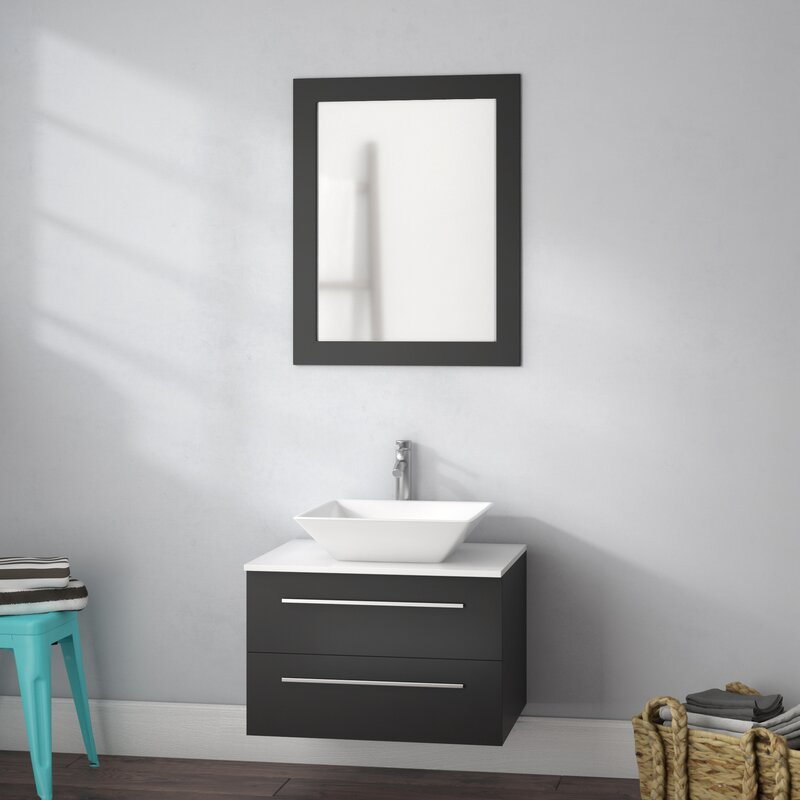 bosarge 24 single sink wall mounted bathroom vanity set with mirror - Wall Mounted Bathroom Vanity