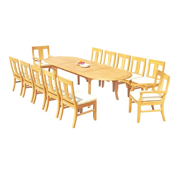 Kevon 13 Piece Teak Dining Set by Rosecliff Heights