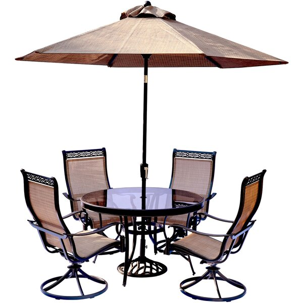 Bucci 5 Piece Dining Set with Table Umbrella and Umbrella Stand by Fleur De Lis Living