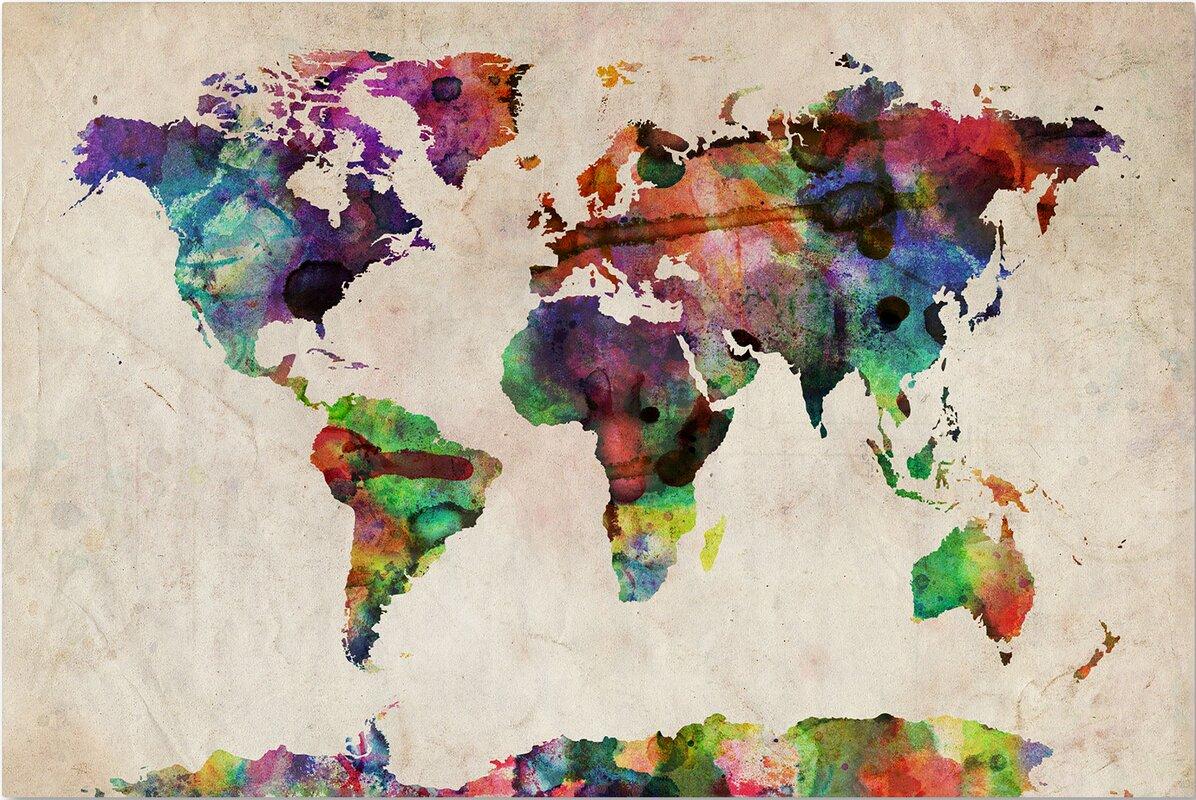 Urban watercolor world map framed on beige canvas reviews allmodern urban watercolor world map framed on beige canvas gumiabroncs Gallery