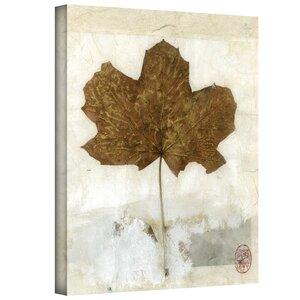 'Golden Leaf' by Elena Ray Painting Print on Wrapped Canvas by ArtWall